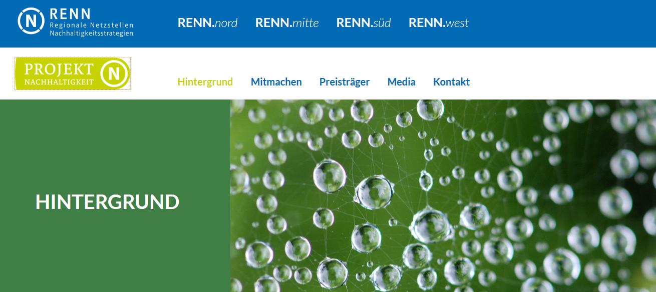 Screenshot der Webseite der Regionalen Netzstellen Nachhaltigkeitsstrategien (RENN)
